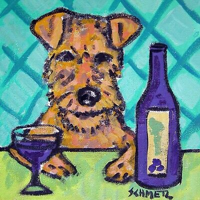 irish terrier at the wine bar dog art tile coaster gift