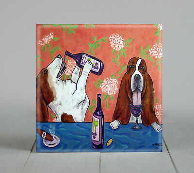 basset hound wine picture dog art tile gift coaster