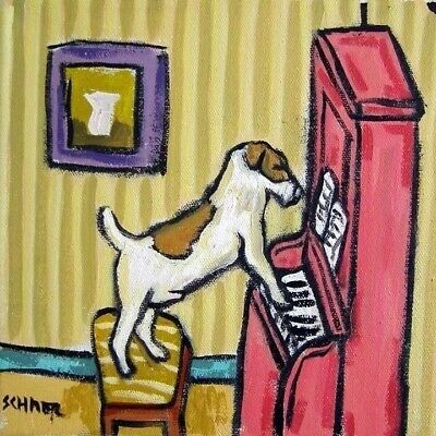 jack russell terrier piano ceramic art dog art tile
