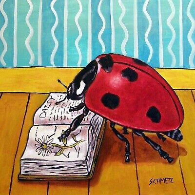 LADYBUG READING A BOOK ceramic ANIMAL art tile coaster
