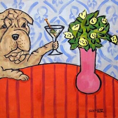 Shar Pei martini coaster animal ceramic dog art tile