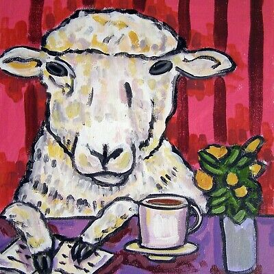 Sheep at the Coffee Shop animal ceramic ram art tile