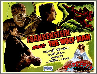FRANKENSTEIN Meets The WOLF MAN ~ 14x11 Title Lobby Card