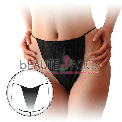 60 Pcs Disposable Thong Bikini Panties Spa Skin Care, Tanning, Black - DP105 x5