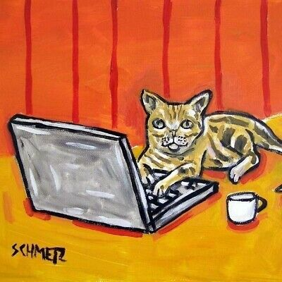 shorthair working on a computer coaster cat art tile