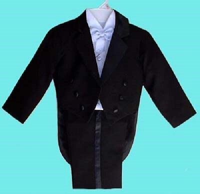 Boys Black Tuxedo Silver Vest Wedding Ring Boy Bearer 2