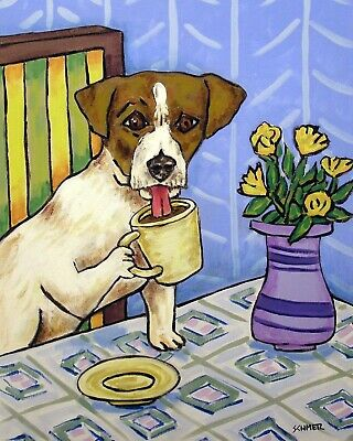 Jack Russell terrier Coffee signed art PRINT 8x10 impressionism animals