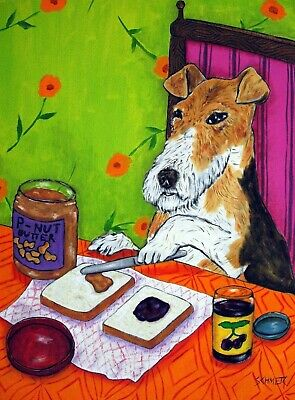 FOX TERRIER dog  8x10 signed art PRINT peanut butter and jelly animals
