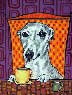 Whippet coffee dog signed giclee art PRINT 8x10 impressionism  animals