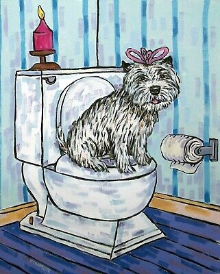CAIRN TERRIER bathroom picture DOG art print 8x10 signed animals artist gift new