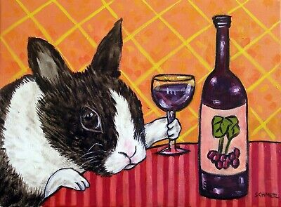 BUNNY RABBIT prints WINE signed art PRINT artist impressionism 8x10 new