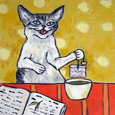 cat steeping tea picture ANIMAL GIFT art tile coaster impressionism pet
