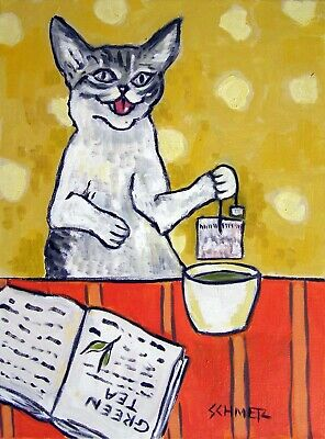 cat steeping green tea poster 8x10 art print animal