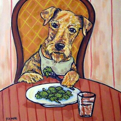 Airedale terrier broccoli picture animal art tile gift artwork