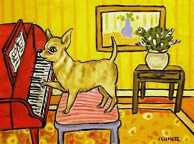 CHihuahua playing piano sogned dog art print 8x10 artwork gift modern music room