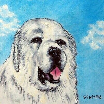 great pyrenees sky animal dog art tile coaster gift