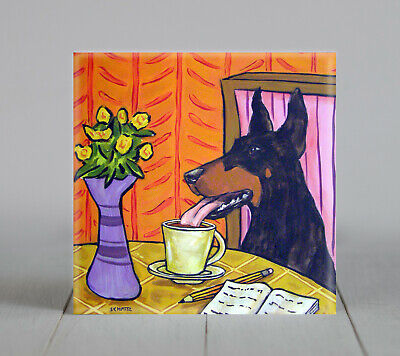 Doberman Pinscher coffee coaster pet dog art tile  gift