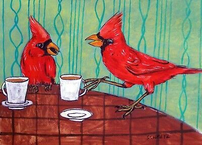 CARDINAL coffee birds animals 8x10 signed art PRINT picture animals gift new