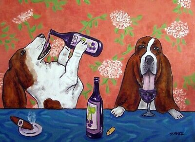 Basset Hound wine painting 8 x10 dog art print poster
