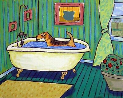 airedale terrier taking a bath signed dog art print 8x10 green background gift