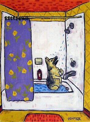 German Shepherd bath bathroom 8x10 dog art print poster