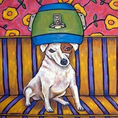 jack russell terrier at the pet salon dog art tile gift