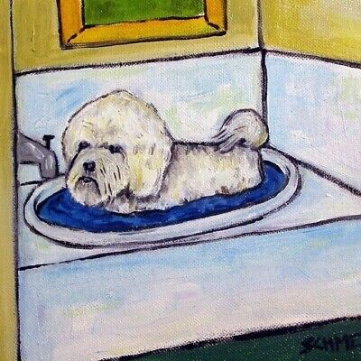 Bichon Frise bath picture ceramic dog art tile picture