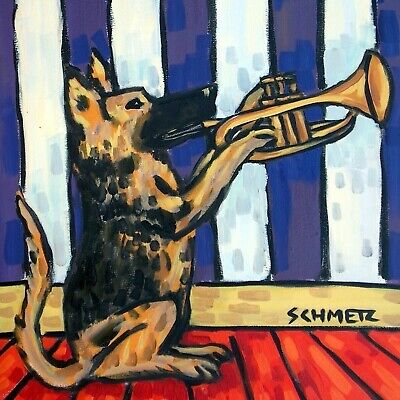 german shepherd trumpet coaster animal dog art tile impressionism