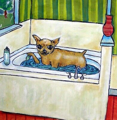 CHIHUAHUA BATH DOG picture PET GIFT art tile coaster