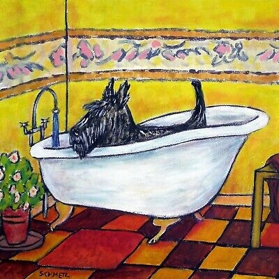 scottish terrier taking a bath bathroom dog art tile coaster gift