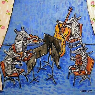 Armadillo string quartet music animal art tile coaster animals impressionism