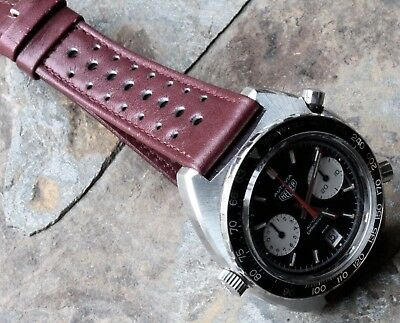 Light burgundy 20mm vintage watch 1960s/70s racing strap 20mm rally band NOS
