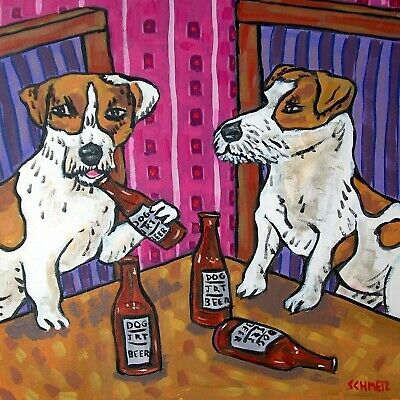 jack russelLs AT THE BAR BEER 4.25 sq dog art tile