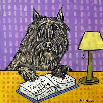 Bouvier Des Flandres reading coaster dog art tile gift