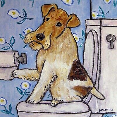 FOX TERRIER BATHROOM picture dog art tile coaster