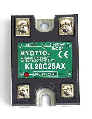 1pc KYOTTO AC Solid State Relay SSR KL20C25AX Load=24~ 280VAC 25A [ AC to AC ]