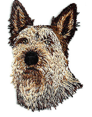 Terrier Dogs Face Fully Embroidered Iron On Applique Patch