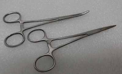 """2 Kelly Hemostat Locking Forceps Straight+Curved 5.5"""" Surgical Instruments"""