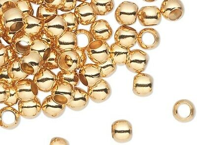100 Gold Plated Brass Smooth Micro 3mm Spacer Beads