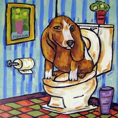 Basset hound in the bathroom DOG art tile coaster gift artwork