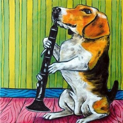 Beagle playing the clarinet dog art tile coaster gift gifts coasters tiles print