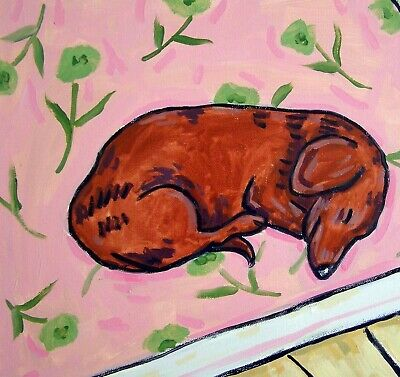Dachshund Sleeping on a rig picture ceramic dog art tile animal