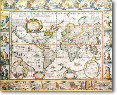 Antique World Map  by Hondius Stretched Canvas Giclee Art Repro 30 x 24