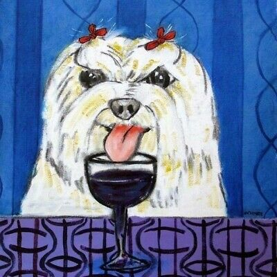 maltese at the WINE BAR dog art tile coaster