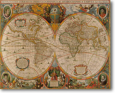 Old World Map Nova Totiva  by Hondius Stretched Canvas Giclee Art Repro 30 x 24
