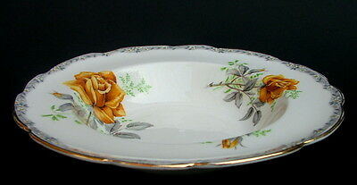 Royal Stafford Roses to Remember Yellow Rim Soup Dessert Plates / Bowls 20cm VGC