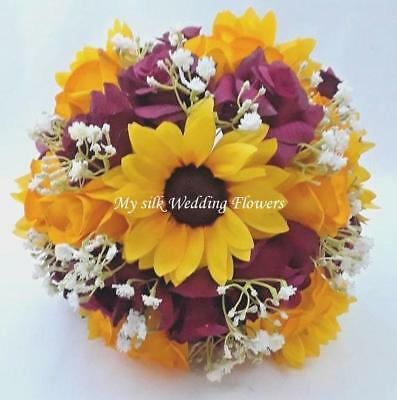 Sunflowers Wedding Bouquet Yellow Yellow Gold Red Roses