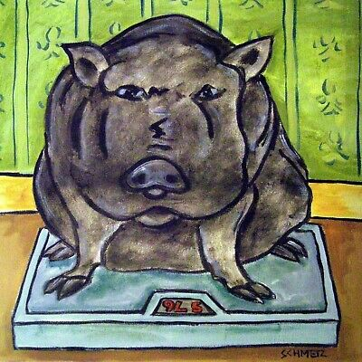 pig diet picture art tile coaster animal pet gift