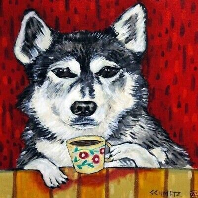 husky at the cafe coffee shop dog art tile coaster gift artwork modern folk
