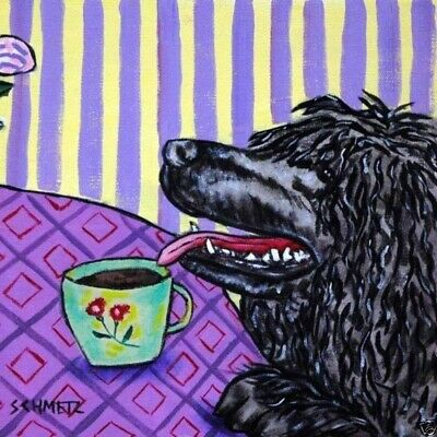 Portuguese Water Dog At The Coffee Shop Art Tile